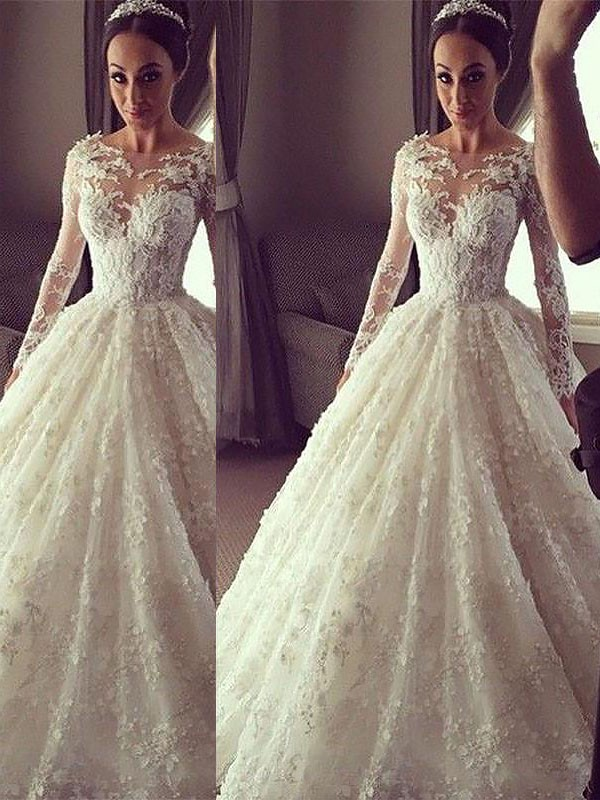 Ball Gown Long Sleeves Scoop Court Train Lace Wedding Dresses