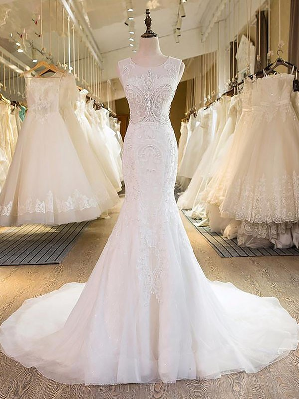 Trumpet/Mermaid Scoop Tulle Sleeveless Sweep/Brush Train Wedding Dresses