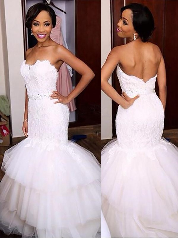 Trumpet/Mermaid Sweetheart Lace Sleeveless Court Train Tulle Wedding Dresses