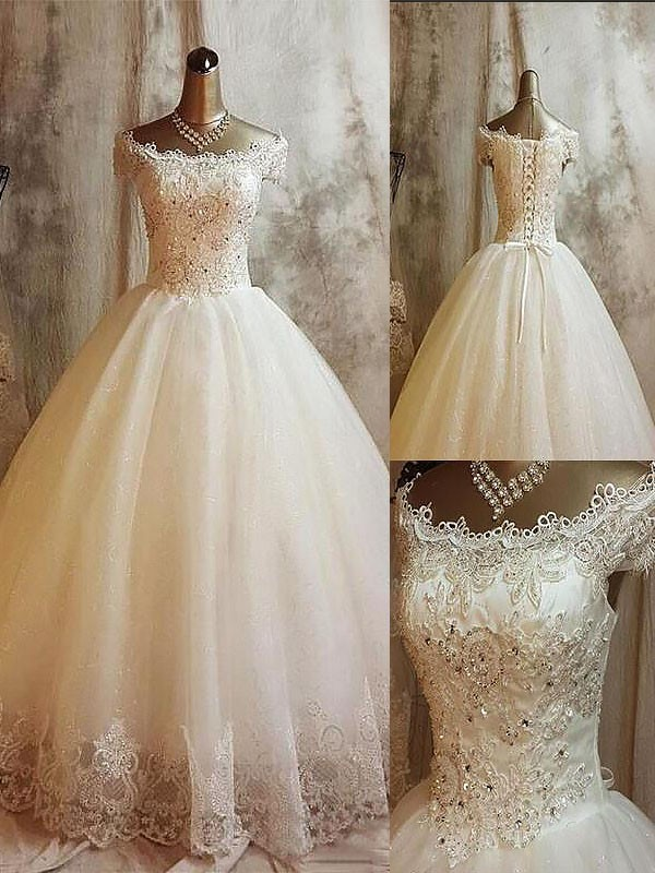 Ball Gown Applique Off-the-Shoulder Sweep/Brush Train Sleeveless Tulle Wedding Dresses