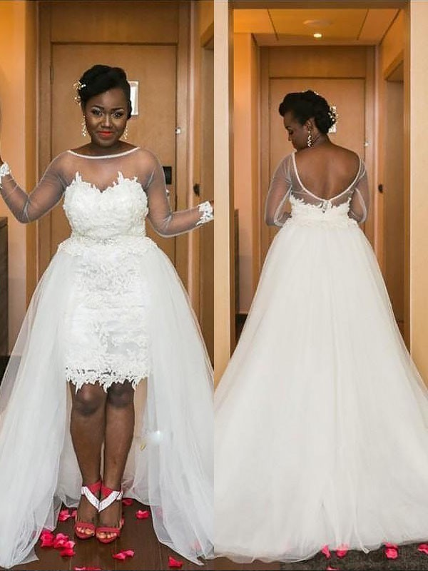 A-Line/Princess Scoop Court Train Tulle Long Sleeves Wedding Dresses