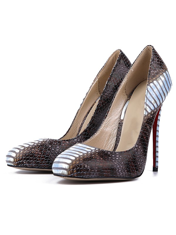 Women's Snake Print PU Round Toe Stiletto Heel Evening Shoes