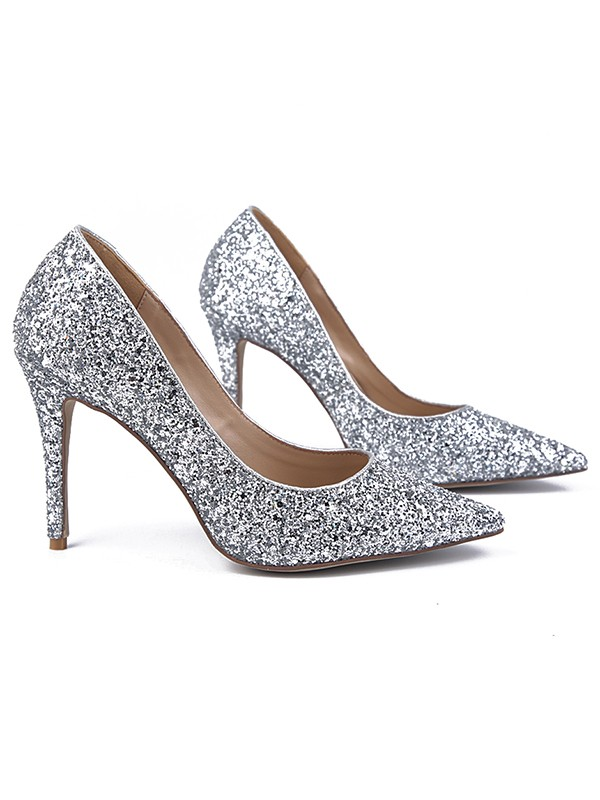 Women's Sparkling Glitter Closed Toe Stiletto Heel Evening Shoes