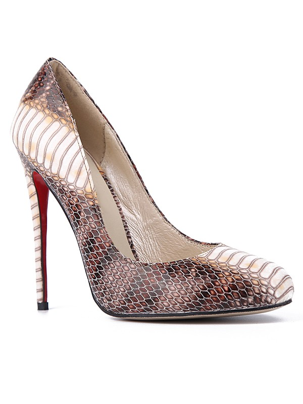 Women's Snake Print PU Closed Toe Stiletto Heel Party Shoes