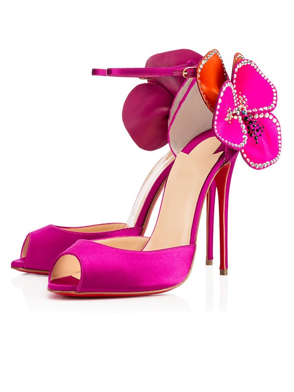 Women's Satin Peep Toe with Flower Stiletto Heel Party Shoes