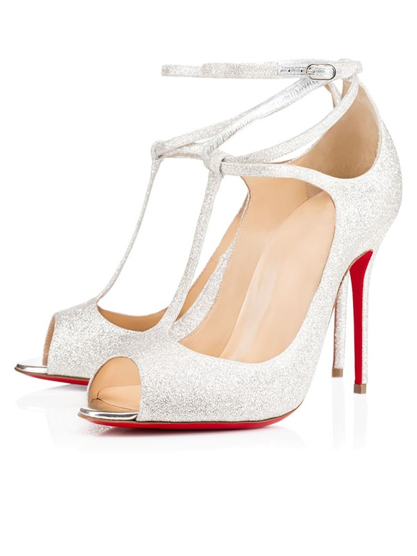 Women's Sparkling Glitter Peep Toe with Ankle Strap Stiletto Heel Party Shoes