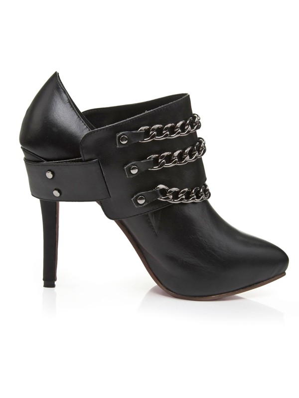 Women's Cattlehide Leather Stiletto Heel Platform Closed Toe With Chain Shoes