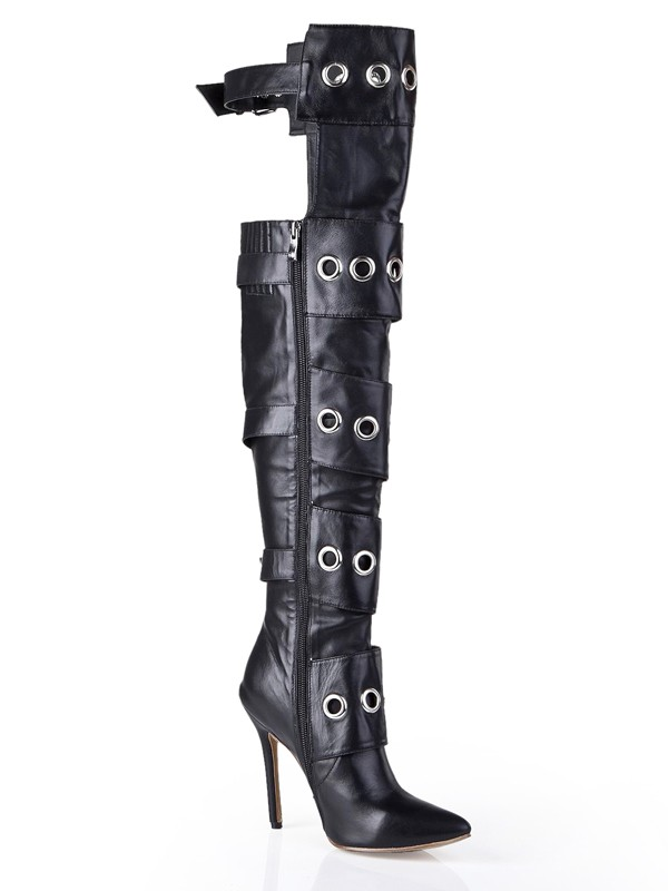 Women's Cattlehide Leather Stiletto Heel With Buckle Knee High Boots