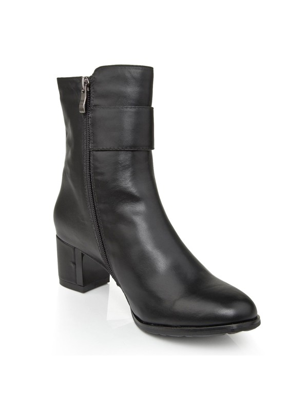 Women's Cattlehide Leather Chunky Heel With Zipper Booties/Ankle Boots