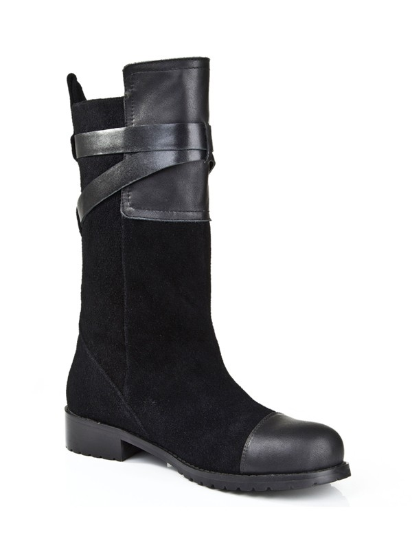 Women's Suede Kitten Heel Closed Toe With Buckle Mid-Calf Boots