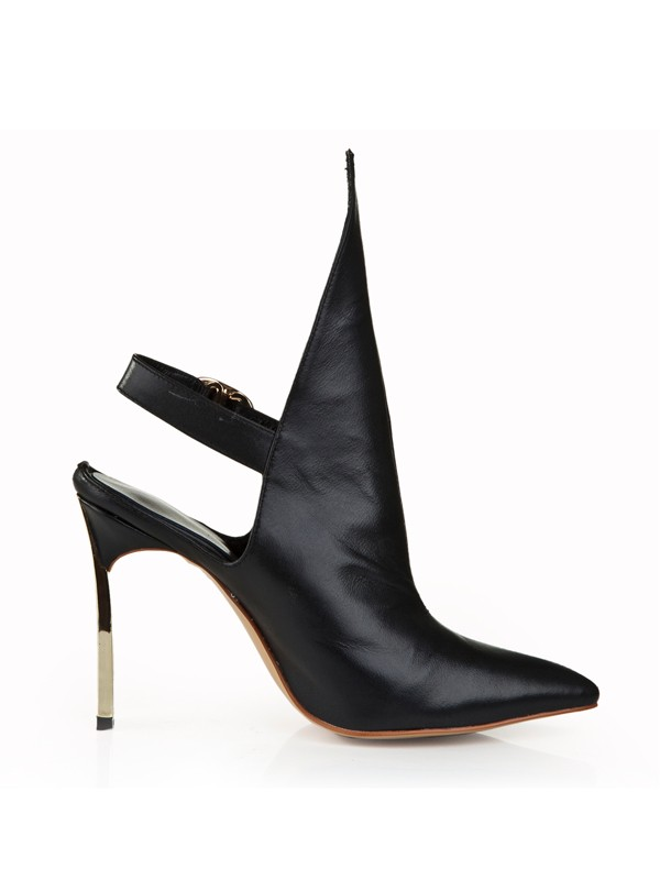 Women's Cattlehide Leather Stiletto Heel Closed Toe With Buckle Booties