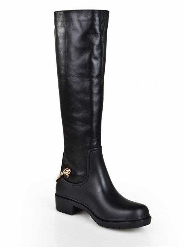 Women's Cattlehide Leather Kitten Heel Closed Toe With Chain Knee High Boots