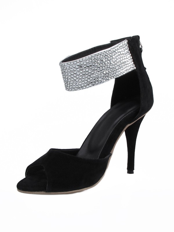 Women's Suede Stiletto Heel Peep Toe With Rhinestone Sandals