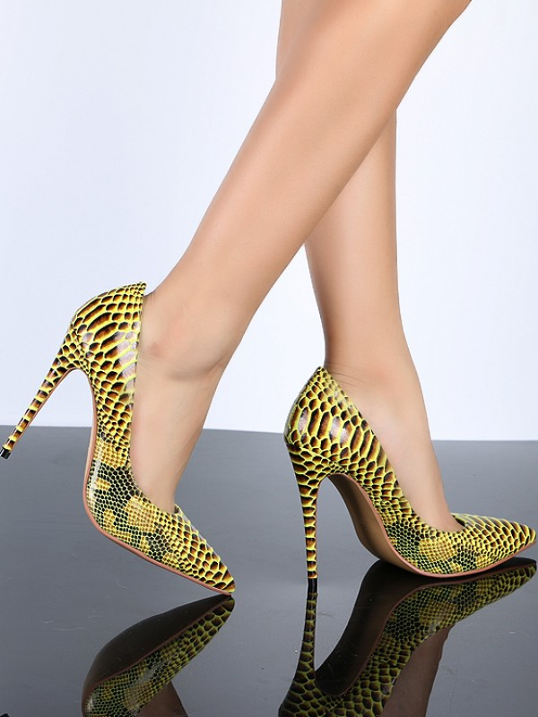 Women's Closed Toe Yellow PU Stiletto Heel With Snake Print Shoes