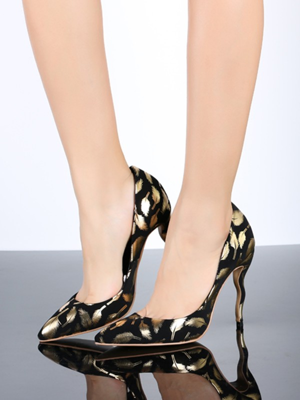 Women's Gold Closed Toe PU Stiletto Heel With Animal Print Shoes
