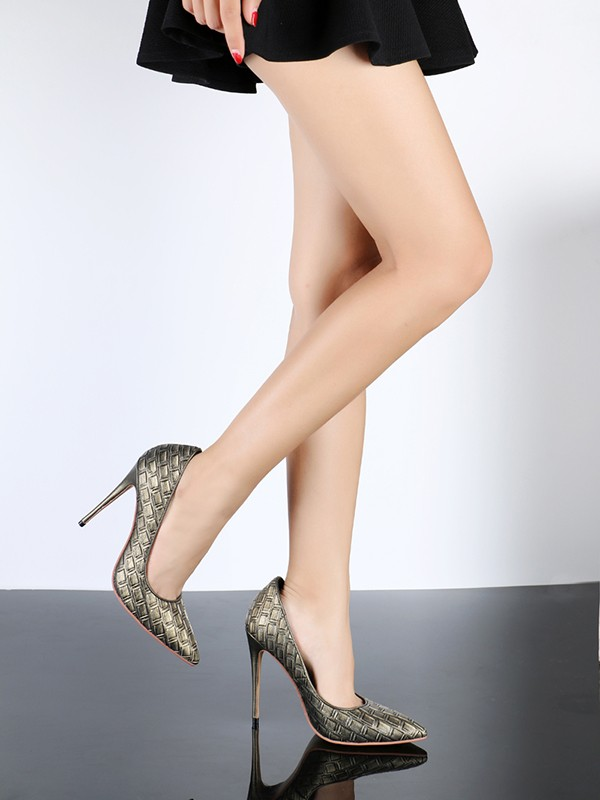 Women's PU Stiletto Heel Closed Toe With Ostrich Pattern Shoes
