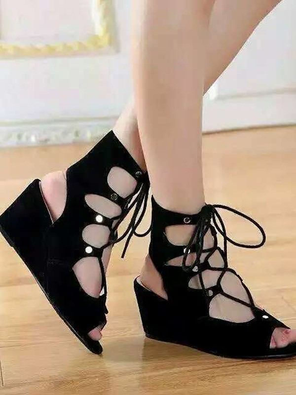 Women's Suede Wedge Heel Peep Toe With Lace-up Sandal Ankle Boots