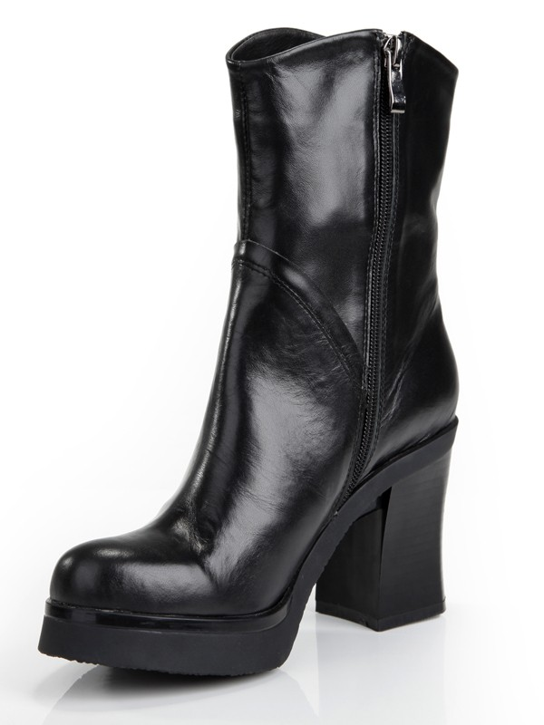 Women's Cattlehide Leather Chunky Heel Platform Closed Toe With Zipper Mid-Calf Boots