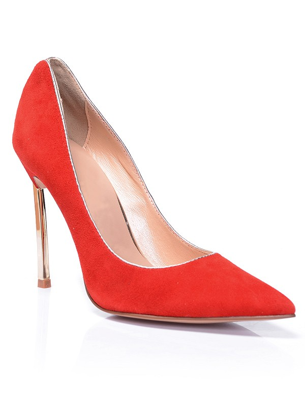 Women's Red Closed Toe Suede Stiletto Heel Evening Shoes