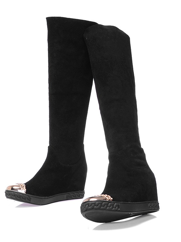 Women's Suede Closed Toe Wedge Heel Knee High Boots