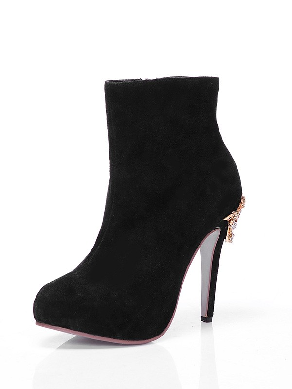 Women's Suede Closed Toe Platform Stiletto Heel With Rhinestone Ankle Boots