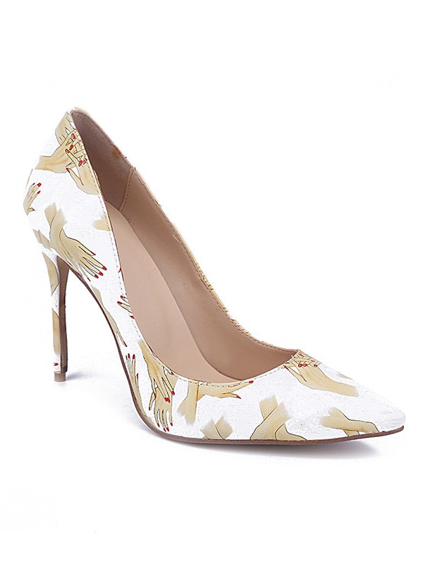 Women's Closed Toe PU Stiletto Heel With Printing Party Shoes