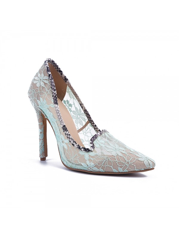 Women's Stiletto Heel Lace Closed Toe Party Shoes