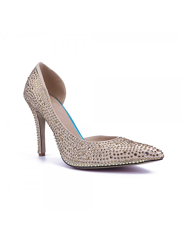 Women's Closed Toe Satin Stiletto Heel With Rhinestone Party Shoes