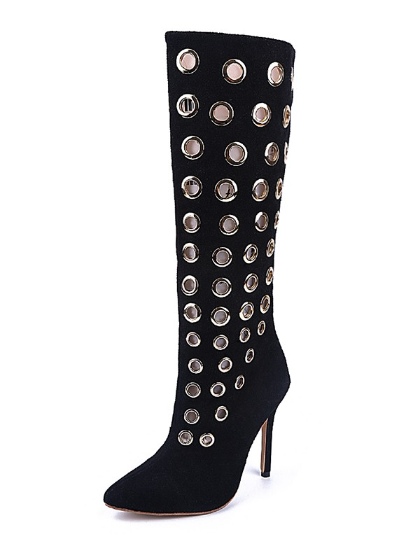 Women's Black Suede Closed Toe Stiletto Heel Knee High Boots