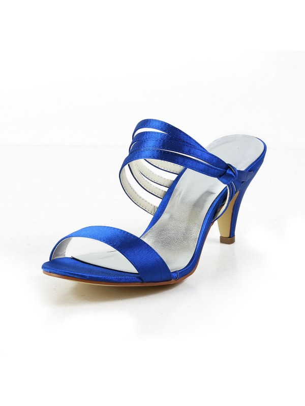 Women's Satin Cone Heel Peep Toe Pumps Sandal Shoes