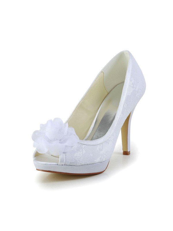 Women's Satin Peep Toe Stiletto Heel Wedding Shoes With Flower