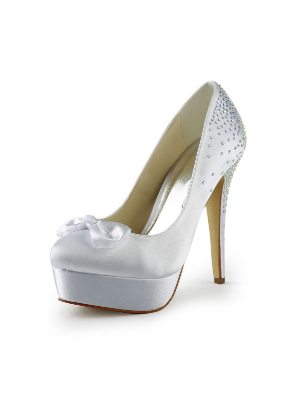 Women's Satin Stiletto Heel Closed Toe Platform Wedding Shoes With Bowknot