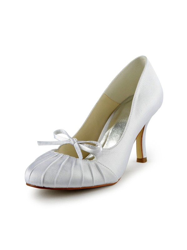 Women's Satin Stiletto Heel Closed Toe Pumps Wedding Shoes With Bowknot Ruched