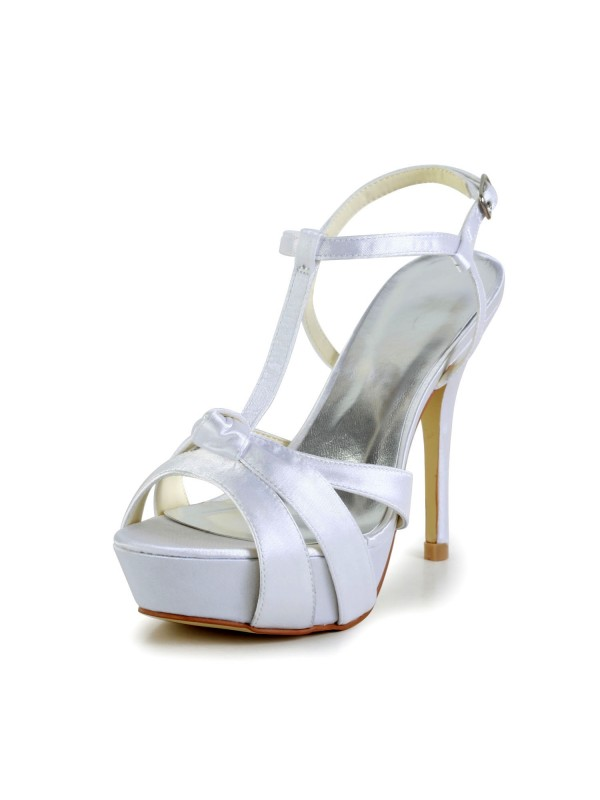 Women's Satin Stiletto Heel Peep Toe Slingbacks Sandal Wedding Shoes With Buckle