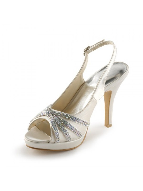 Women's Satin Stiletto Heel Peep Toe Platform With Rhinestone Wedding Shoes