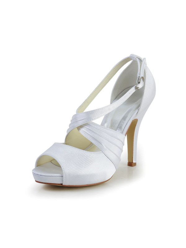 Women's Satin Stiletto Heel Peep Toe With Buckle Wedding Shoes