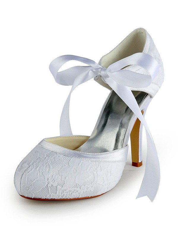 Women's Satin Stiletto Heel Pumps with Lace Wedding Shoes