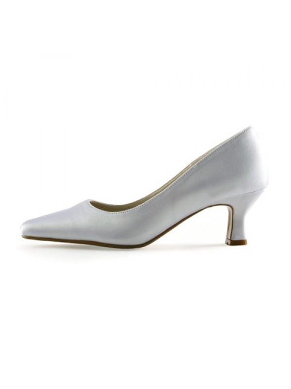 Women's Satin Upper Chunky Heel Pointed Toe Wedding Shoes