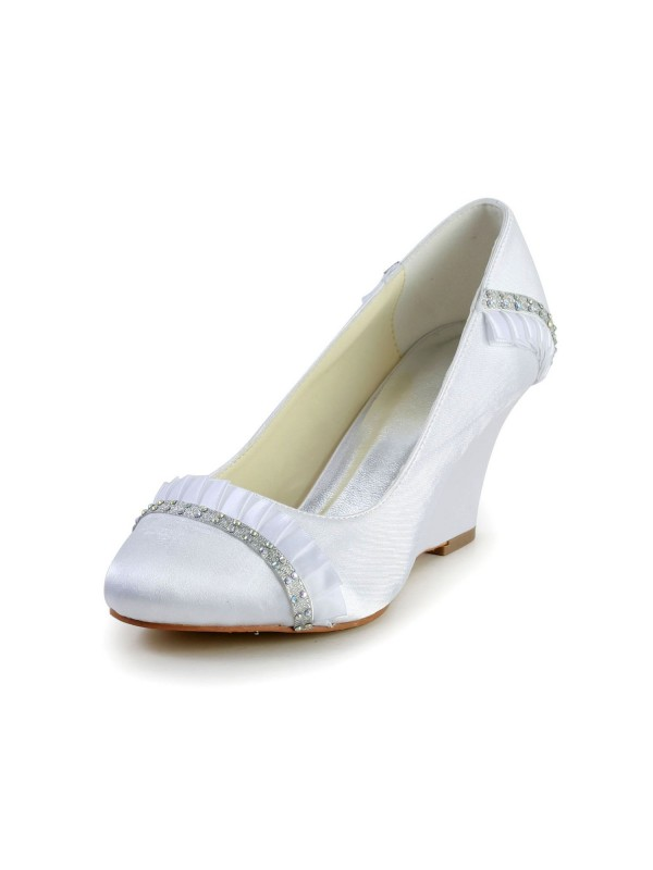 Women's Satin Wedge Heel Wedges Closed Toe Wedding Shoes