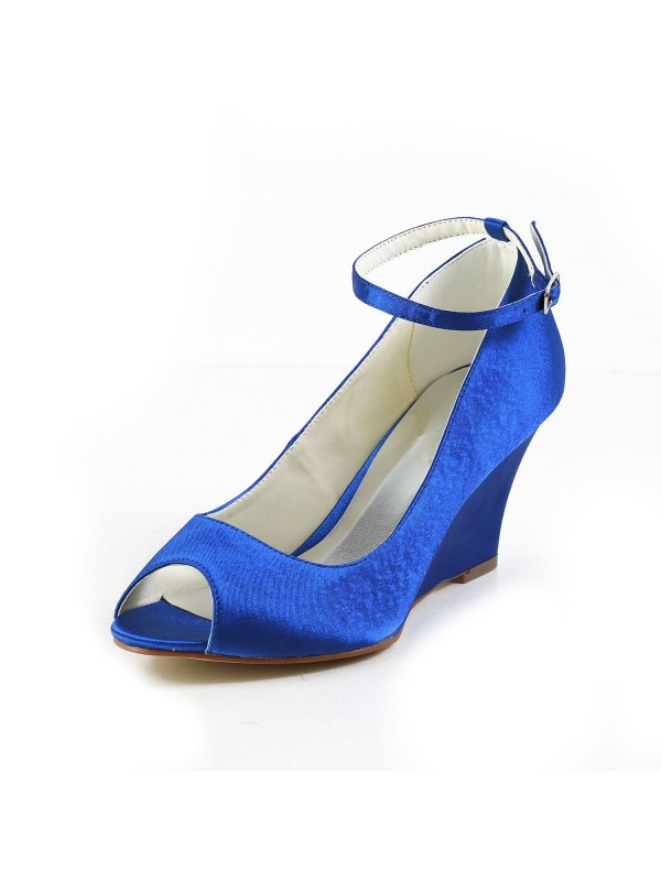 Women's Satin Wedge Heel Wedges Peep Toe Shoes With Buckle