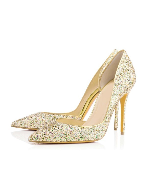 Women's Closed Toe Stiletto Heel With Sequin Evening Shoes