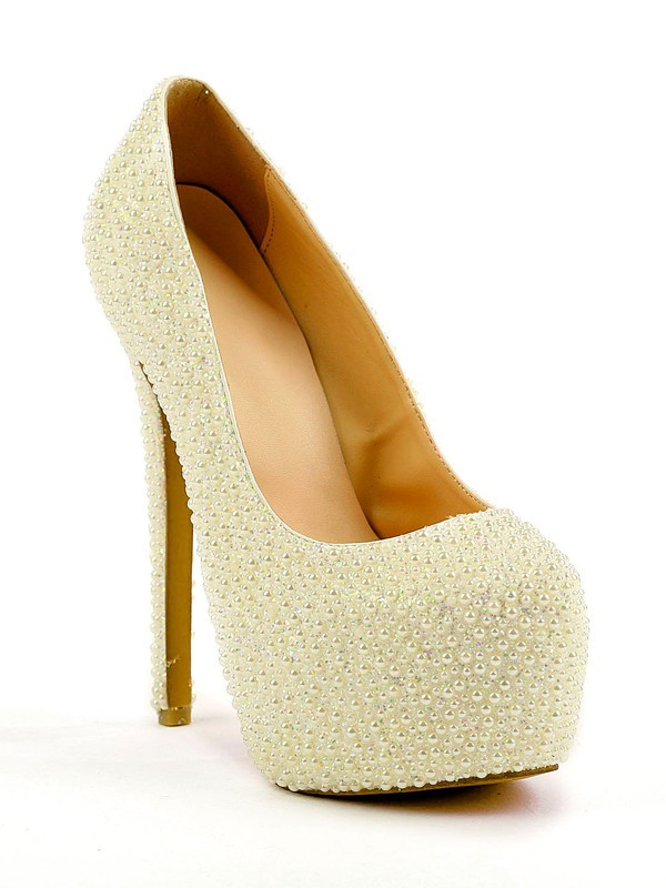 Women's Stiletto Heel Closed Toe Platform With Pearl Shoes
