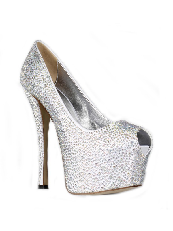 Women's Satin Stiletto Heel Peep Toe Platform With Rhinestone Shoes