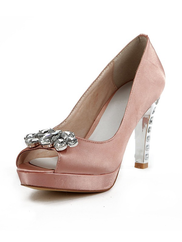 Women's Silk Peep Toe Stiletto Heel Platform With Rhinestone Shoes