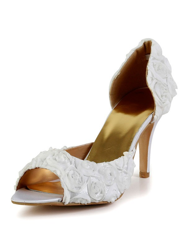 Women's Stiletto Heel Silk Peep Toe With Flower Wedding Shoes