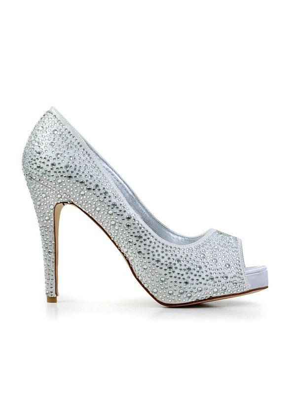 Women's Stiletto Heel Flock Peep Toe With Rhinestone Platform Shoes