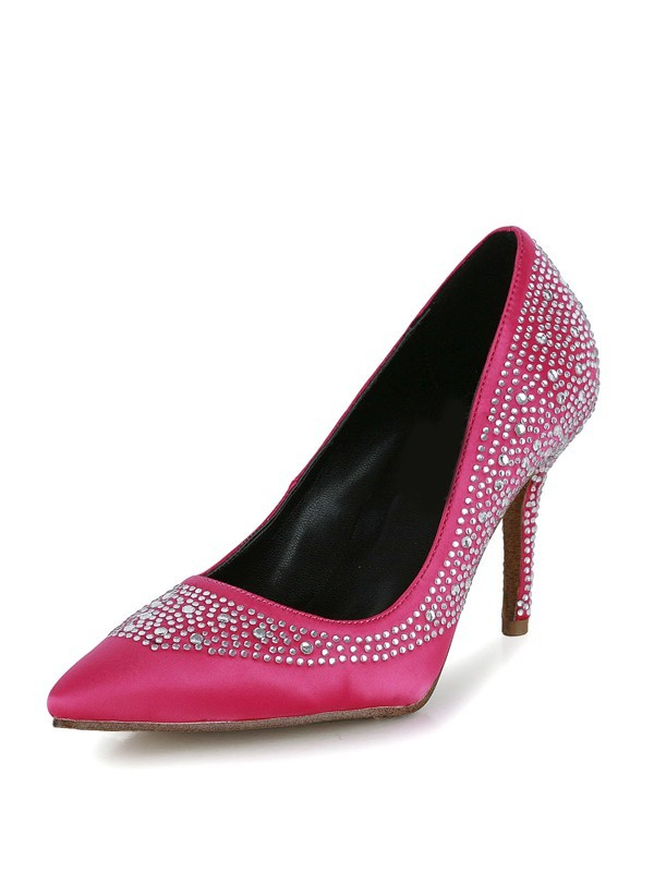 Women's Stiletto Heel Silk Closed Toe With Rhinestone Prom Shoes