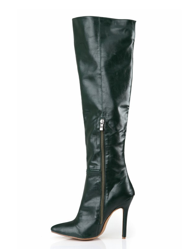 Women's Cattlehide Leather Stiletto Heel Closed Toe Knee High Boots