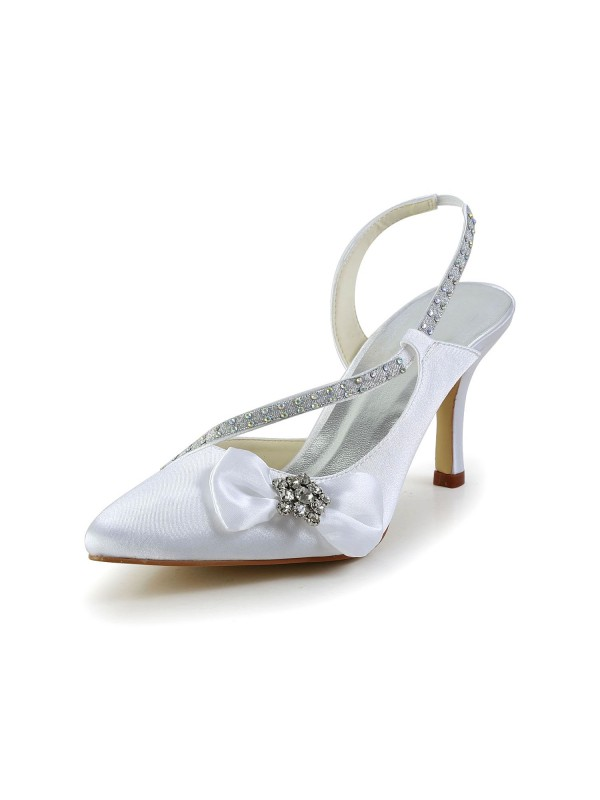 Women's Satin Closed Toe Spool Heel With Rhinestone Bowknot Wedding Shoes
