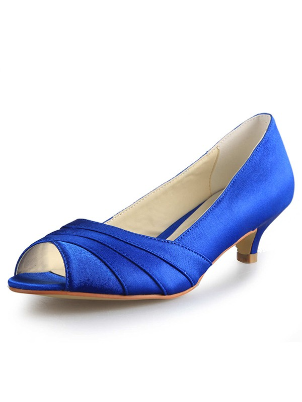 Women's Low Heel Peep Toe Satin Evening Shoes